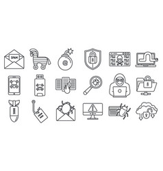cyber attack bug icons set outline style vector image