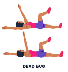 dead bug sport exersice silhouettes of woman vector image