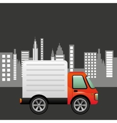 Delivery car city background design vector