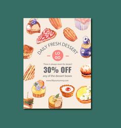 Dessert poster design with cheesecake sandwich vector
