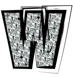 Diamond Font letter w vector image