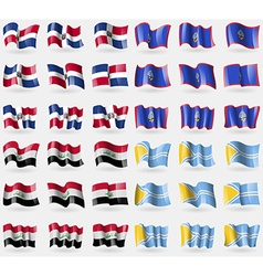 Dominican Republic Guam Iraq Tuva Set of 36 flags vector