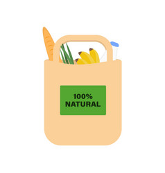 Eco-friendly paper bag with products for a healthy vector