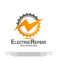 Electrical repair logo with gear concept vector