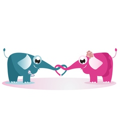 Elephants fall in love vector