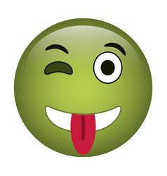 Eyewink and tongue emoticon style icon vector