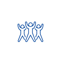 Fitness group aerobics line icon concept fitness vector
