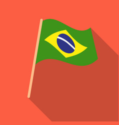 Flag of brazil icon in flate style isolated on vector