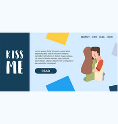 Flat banner kiss me problem relationship vector
