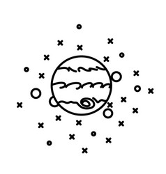 Flat style planet jupiter in front stars vector