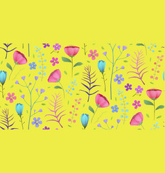 floral tropical bright flowers on yellow seamless vector image