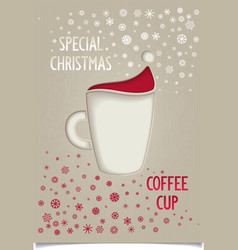 Fun vintage Christmas coffee cup vector