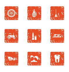 Garden establishment icons set grunge style vector