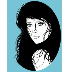 Girl with Black Hair Lineart2 vector image