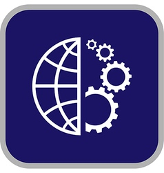 Globe and gear icon vector