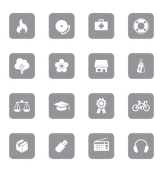 gray web icon set 6 on rounded rectangle vector image