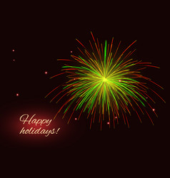 green red yellow fireworks background copy space vector image