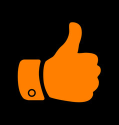 hand sign orange icon on black vector image vector image
