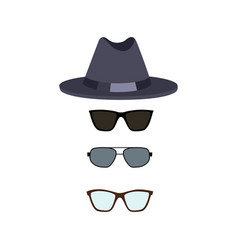 hat and glasses collection vector image