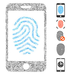 Hatch collage mobile fingerprint authorization vector