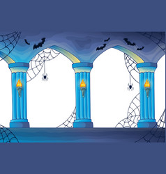 Haunted castle interior columns vector