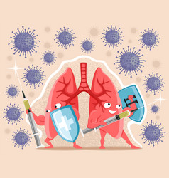 Healthy lungs with syringes vector