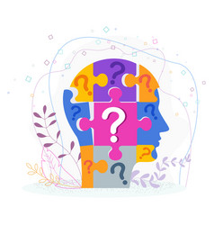 human profile concept man head made up puzzle vector image