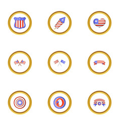 independence day icons set cartoon style vector image