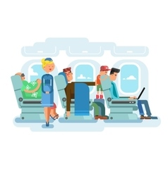 Interior of plane flat design vector image