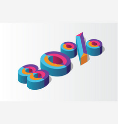 isometric 80 percent off 3d sale background vector image