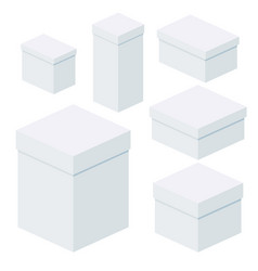 isometric white boxes of different sizes for vector image