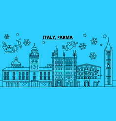 italy parma winter holidays skyline merry vector image