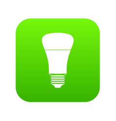 Led bulb icon digital green vector