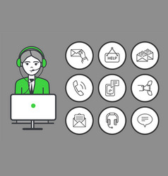 male wearing headphones looking at laptop vector image