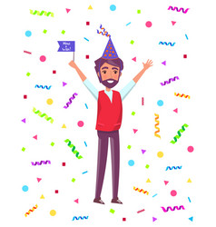 man celebrate party flag isolated cartoon person vector image