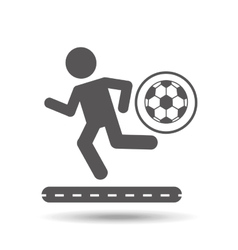 Man silhouette running with ball soccer icon vector