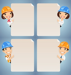 Manager in helmet looking at blank poster set vector