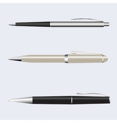Metal pens set isolated on vector image