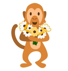 Monkey with flowers vector image
