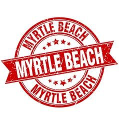 Myrtle Beach red round grunge vintage ribbon stamp vector