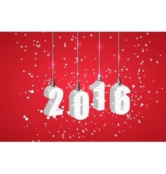 New year 2016 red banner with white hanging vector