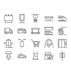 Out of home media line icon set vector