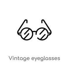 Outline vintage eyeglasses icon isolated black vector