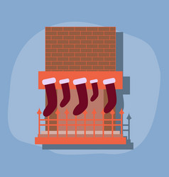 Paper sticker on stylish background fireplace vector