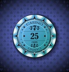 Poker chip nominal twenty five on card symbol vector