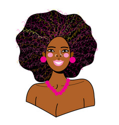 Portrait a young beautiful african woman vector