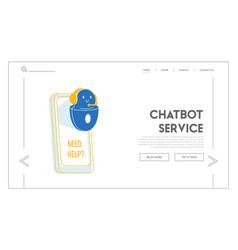 Robot help user website landing page ai chatbot vector