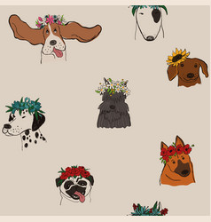 Seamless pattern with dogs in floral wreaths vector