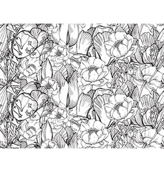 seamless pattern with graphic spring flowers vector image