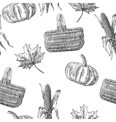 Seamless pattern with leaves pumpkin basket vector